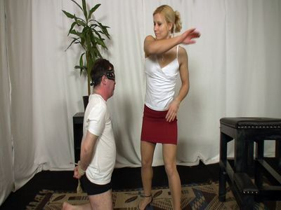 Mistress dares and slaps slave hard